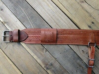 Barb Wire Tooled Leather Back Rear Cinch Flank Billet Western Girth Horse Trail
