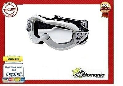Occhiali Mascherina Moto Cross Off Road Motard Sci No Fog Uv400 Prese D'aria