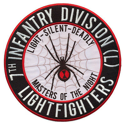 """New 8 1/2"""" 7th Infantry Division - Lightfighter - Black Widow Embroidered Patch"""