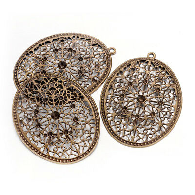 20pcs Antique Bronze Iron Filigree Big Pendants Oval Dangle Charms Findings 63mm