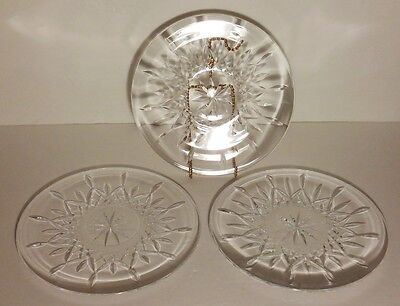 """3 Rare Vintage Waterford Crystal Lismore 8 3/8"""" Luncheon Plates"""