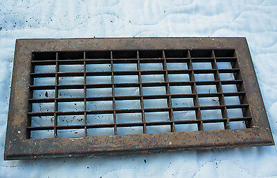 Vintage Antique Salvage Floor Register Heat Vent Heavy Duty Steel 8x16 Fit 6x14