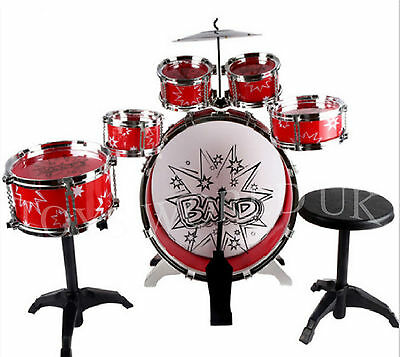 Big Band Kids Drum Set Kit with Stool Sticks Musical instrument Toy XMAS GIFT
