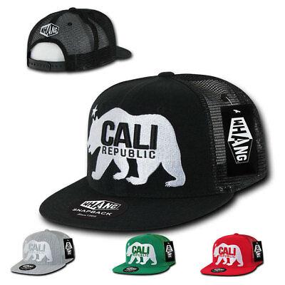 7fc67cfab338cf 1 Dozen California Republic Bear Flat Bill Trucker Baseball Hats Caps  Wholesale