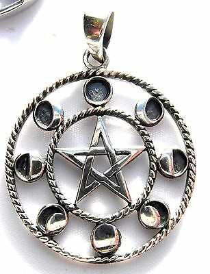Sterling Silver (925)  Pentagram  With  8   Moon  Phases Pendant    !!    New !