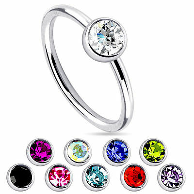 Crystal Surgical Steel Piercing Lip Bar Stud Nose Ear Nipple Ring Hoop 20ga