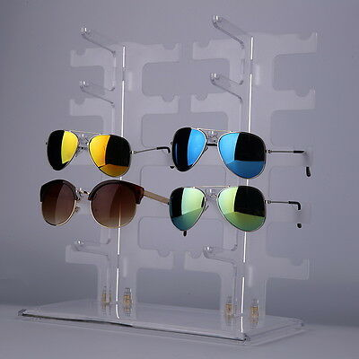 2 Row 10 Pairs Sunglasses Rack Holder Frame Display Stand Transparent LS