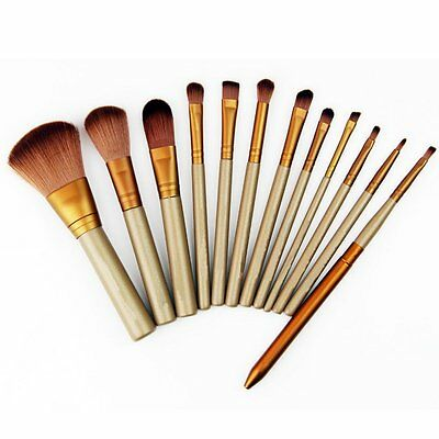 12Pcs Makeup Tools Kit Cosmetic Eyeshadow Foundation Concealer Brushes Set LS