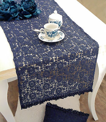 Runner con Pizzo Shabby Chic Luxury Velvet Collection Blanc Mariclo Colore Blu N