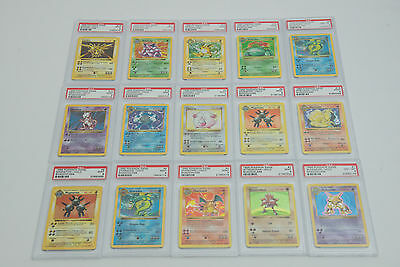 POKEMON Shadowless Holo Base Set 15 Holos PSA 9 MINT Charizard Venusaur Lot
