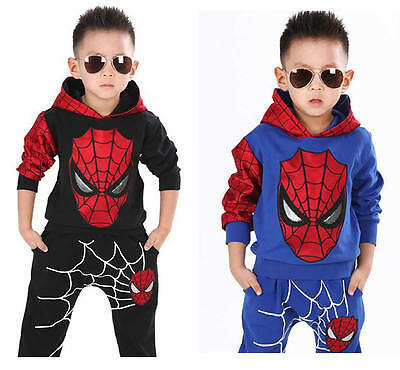 2Pcs Baby Boy Kids Spiderman Cosplay Costume Halloween Tops+Pants Trousers Set