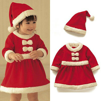 2pcs Baby Girl Newborn Christmas Santa Claus Dress+Hat Outfit Costume Xmas Set