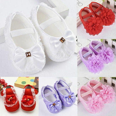 Newborn to 18M Infant Baby Girl Soft Crib Shoes Moccasin Prewalker Sole Shoes TP