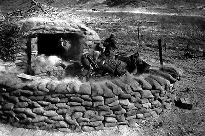 New 5x7 Korean War - Conflict Photo: 31st Heavy Mortar Company Fire at Enemy