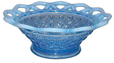 """Imperial Laced Edge Blue Opalescent #745 """"Sugar Cane"""" Line Belled Nappy / Bowl"""