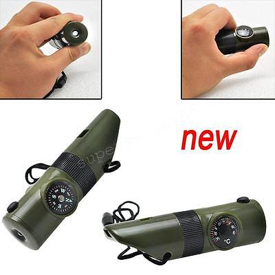 7in1 Camping Survival Whistle Compass LED Flashlight Thermometer Easy to use