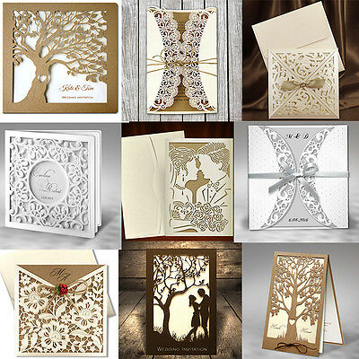 50 Personalised Wedding Invitations Laces Laser Cut Day / Eve Free P*P ENVELOPES