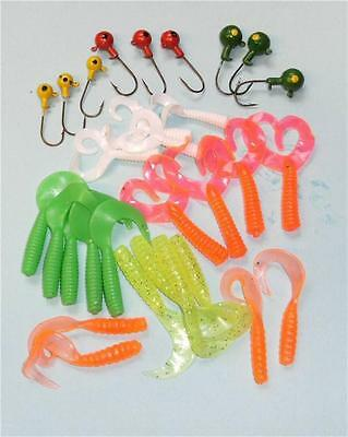 30 pc jig head and soft lure set for pike sea fishing twin tail curly tail lures