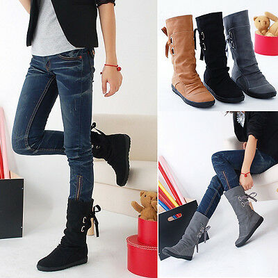 New Women's Winter Leather High Boots Ankle Martin Booties Flat Shoes Back Lace