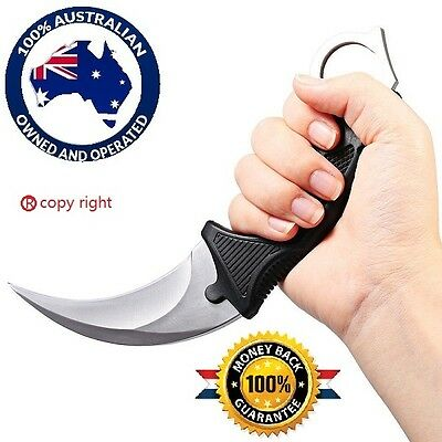 NEW NEW  Outdoor KARAMBIT NECK KNIFE Survival Hunting Fixed Blade +Sheath Silver