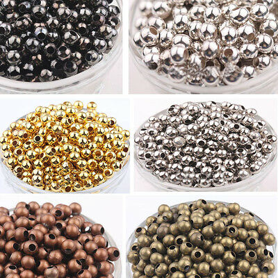 2/3/4/5/6/8mm New Metal Round Ball Spacer Beads Gold Silver Bronze Copper Black