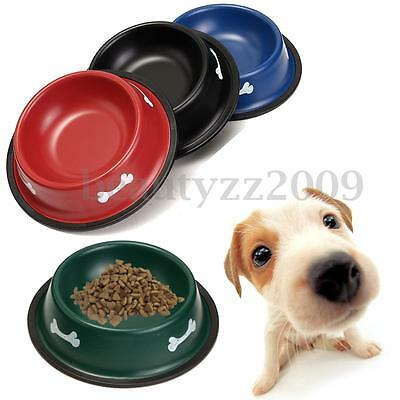 Stainless Steel Dog Cat Puppy Pet Food Water Bowl Snack Dish Feeder Colors S & M