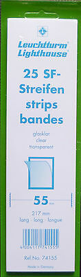 LIGHTHOUSE STAMP MOUNTS CLEAR Pack 25 Strips 217mm x 55mm - Ref. No. 74155