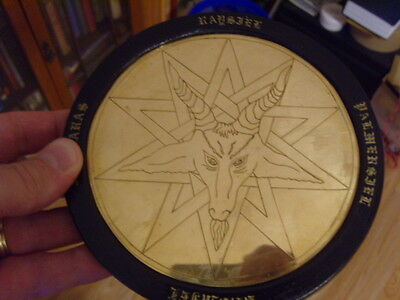 A VERY Rare Baphomet Brass Engraved Pentacle, Satanic, Witchcraft, Occult Wicca