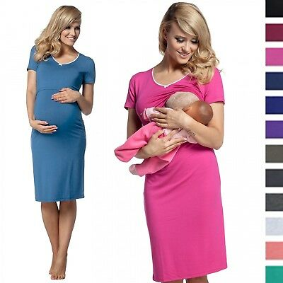 Happy Mama. Women's Maternity Nursing Breastfeeding Nightdress Shirt Gown. 274p