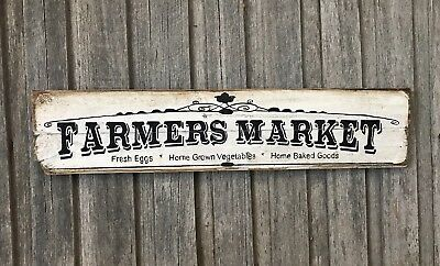 FARMERS MARKET H20 X L80cm- Rustic Vintage Style Timber Sign - 2 Fonts Available