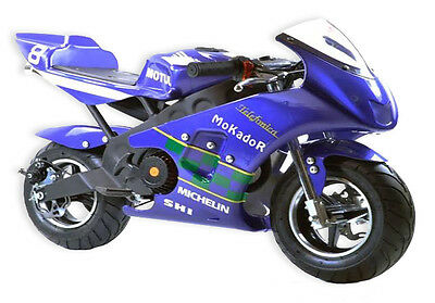 Vixen West Blue Mini Moto 49cc Racing Bike 2 Stroke Track Race Pocket Midi