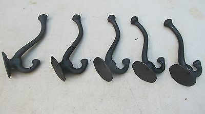 Lot of 5 LG Vintage style Cast Iron Acorn Coat & hat Hooks