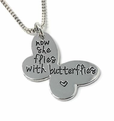 *uk* 925 Silver Plt 'now She Flies With Butterflies' Engraved Butterfly Pendant