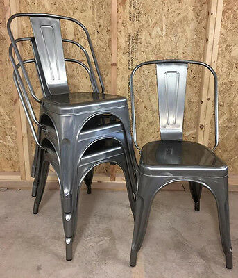 4x Tolix Gun Metal Silver Brushed Metal Cafe Industrial Vintage Dining Chairs