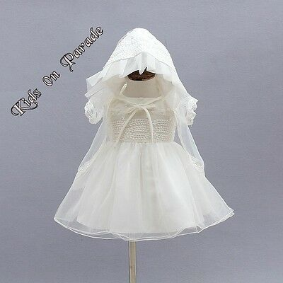 Vintage Lace Ivory Christening Dress Gown -Bonnet-Cape- 3 Piece Set Outfit