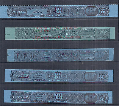 1926 US Tax Paid Revenue Tobacco Strips Collection Lot of 5 - Used*