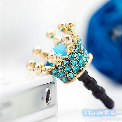 Crown 3.5mm Anti Dust Earphone Plug Cover Stopper Cap For Smartphone Iphone