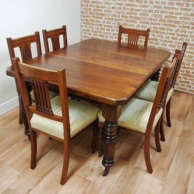 Antique Edwardian 1 Leaf Walnut Wind Out Table With Set of 6 Chairs C1890-1915