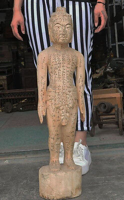 Old Wood Carve Traditional China Medicine acupuncture Acupoint human body Statue