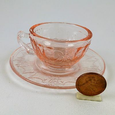 Mosser Glass Jennifer Miniature Tea Cup & Saucer Child's Play Doll Dishes Pink