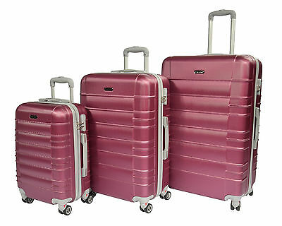 Luggage SUITCASE Hardshell ABS 4 Wheel Lightweight Trolley With Lock ROSEWOOD