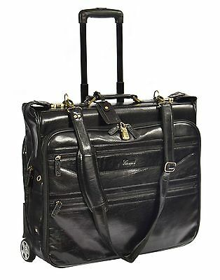 Real Leather Suit Dress Garment Carrier Wheeled Travel Weekend TOP Bag Black NEW