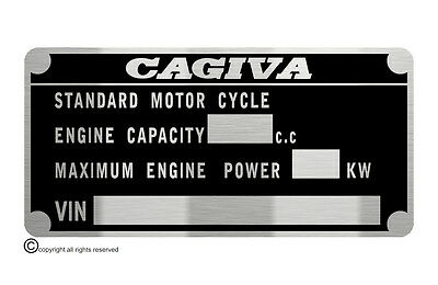 CAGIVA MOTORCYCLE M.O.T.  data plate quality vin-tage new