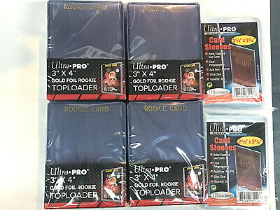 50 ULTRA PRO 3x4 ULTRA CLEAR Hard Plastic GOLD ROOKIE toploaders&200 soft sleeve