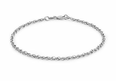 """9ct White Gold 40 Diamond Cut Prince Of Wales Chain Bracelet 18cm/7"""" Gift Boxed"""