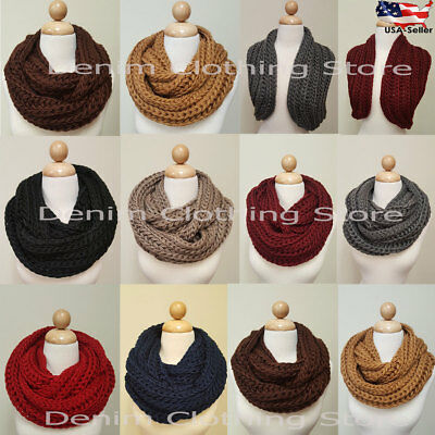 Women's Warm Winter Infinity Circle Cable Knit Cowl Neck Thick Scarf Shawl Wrap
