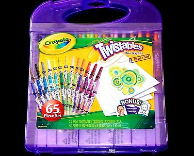 Crayola 65 Pc Twistables Mini Crayons & Paper Set NEVER NEED SHARPEN Just Twist!