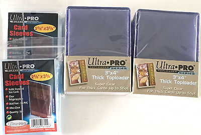(50)Ultra Pro Thick 55pt Toploaders Card Holders 3x4 & 200 soft sleeves standard