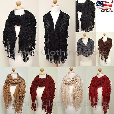 Women's Warm Winter Ruffle Long Scarf Knit Shawl Wrap Cowl Fringe Infinity Loop