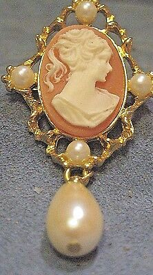 Vintage SCO Fancy Faux Cameo & Pearl Pin Brooch Pendant Gold Color Metal